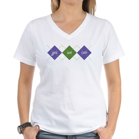 Yes We Can ARGYLE Women's V-Neck T-Shirt