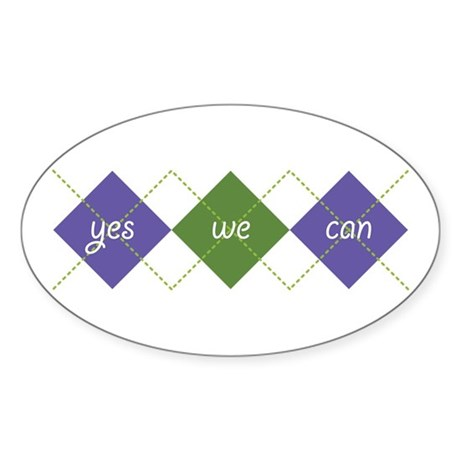 Yes We Can ARGYLE Oval Sticker