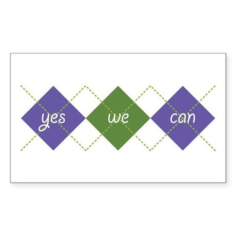 Yes We Can ARGYLE Rectangle Sticker