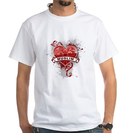 Heart Muslim White T-Shirt