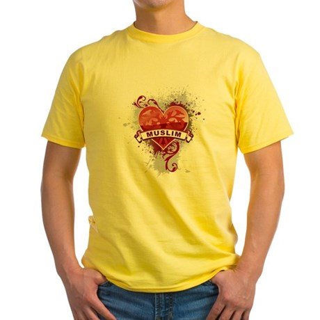 Heart Muslim Yellow T-Shirt