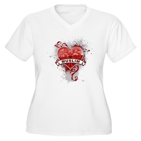 Heart Muslim Women's Plus Size V-Neck T-Shirt