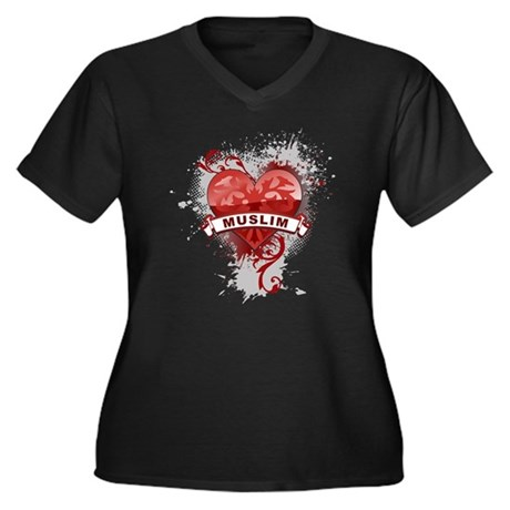 Heart Muslim Women's Plus Size V-Neck Dark T-Shirt