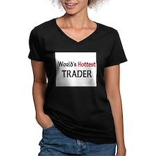 World's Hottest Trader Women's V-Neck Dark T-Shirt