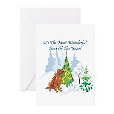Christmas Time Irish Setter Greeting Cards (Pk of