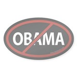No Obama Black Bumper Oval Decal
