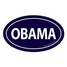 Barack Obama Auto Oval Sticker -Navy