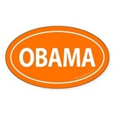 Barack Obama Auto Oval Sticker -Orange