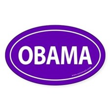 Barack Obama Auto Oval Sticker -Purple