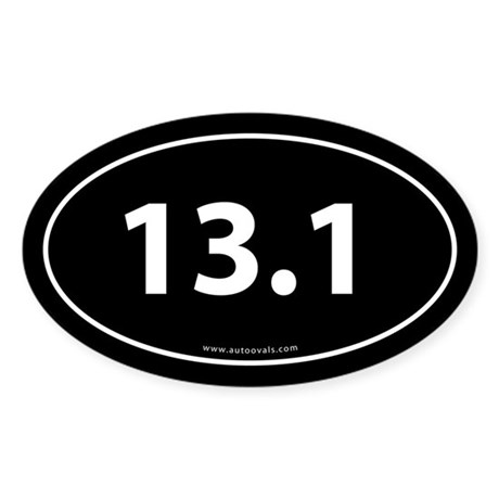 13.1 Half Marathon Bumper Sticker -Black (Oval)