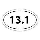 13.1 Half Marathon Bumper Sticker -White (Oval)