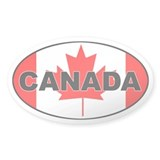 Canadian Flag Oval Stickers