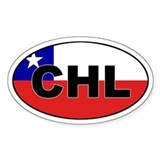 Flag of Chile (CHL) Oval  Aufkleber