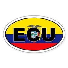 Flag of Ecuador (ECU) Oval Decal