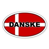 Danish Flag Oval  Aufkleber