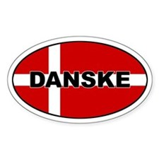 Danish Flag Oval Decal