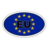 European Union (EU) Oval Bumper Stickers