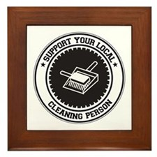 Support Cleaning Person Framed Tile