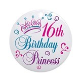 16th Birthday Princess Ornament (Round)