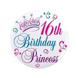 16th Birthday Princess 3.5&quot; Button