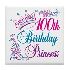 100th Birthday Princess Tile Coaster