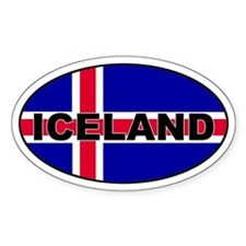 Iceland Flag Oval Decal