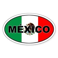 Mexico Flag Oval Bumper Stickers