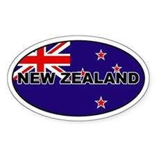 New Zealand Flag Oval Bumper Stickers
