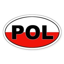 Poland (POL) Flag Oval Decal