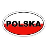 Poland (Polska) Flag Oval Decal