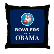 BOWLERS FOR OBAMA Throw Pillow