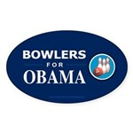 BOWLERS FOR OBAMA Oval Sticker