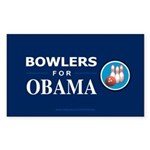 BOWLERS FOR OBAMA Rectangle Sticker