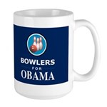 BOWLERS FOR OBAMA Dark Large Mug