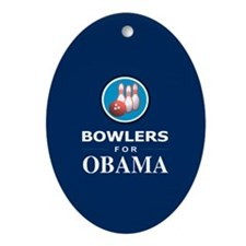 BOWLERS FOR OBAMA Oval Ornament