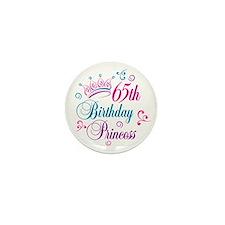 65th Birthday Princess Mini Button