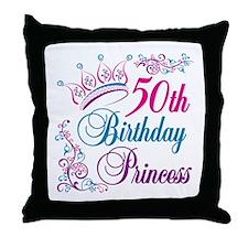 50th Birthday Princess Throw Pillow