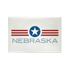 Star Stripes Nebraska Rectangle Magnet