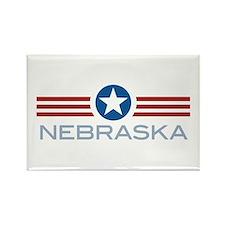 Star Stripes Nebraska Rectangle Magnet (100 pack)