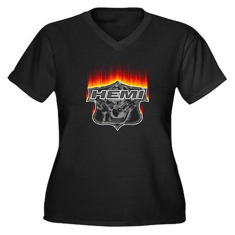 Fire Hemi Women's Plus Size V-Neck Dark T-Shirt