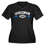 Wisconsin 1848 Women's Plus Size V-Neck Dark T-Shi