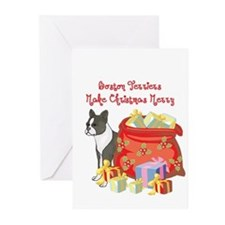 Merry Christmas Boston Terrier Greeting Cards (Pk