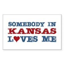 Somebody in Kansas Loves Me Rectangle Decal