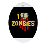I heart Zombies Oval Ornament