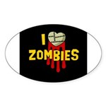 I heart Zombies Oval Sticker (10 pk)