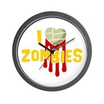 I heart Zombies Wall Clock