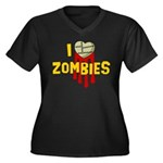 I heart Zombies Women's Plus Size V-Neck Dark T-Sh