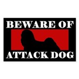 Beware of Attack Dog Lhasa Apso Decal