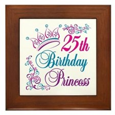 25th Birthday Princess Framed Tile