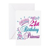 21st Birthday Princess Greeting Cards (Pk of 20)
